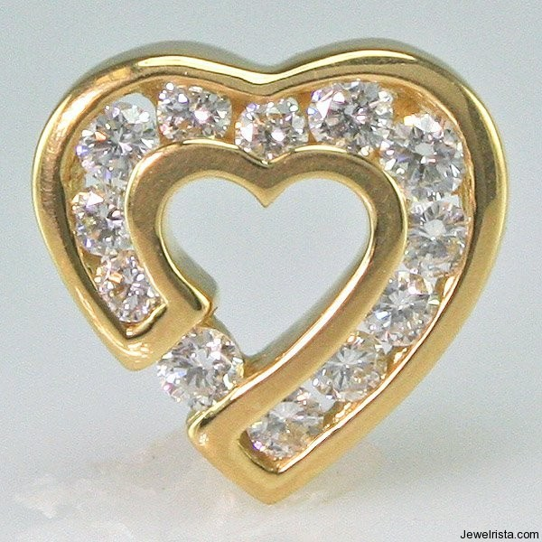 18KT Gold and Diamond Sweetheart Pendant By Jewelry Designer Charles Krypell