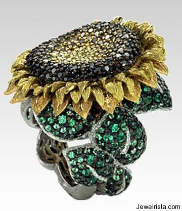 Diamond Sunflower Ring By Jewelry Designer Alex Soldier