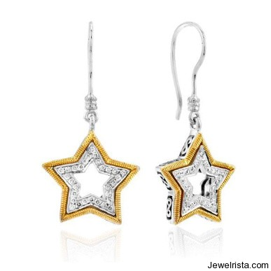 Sterling Silver & 18K Yellow Gold Pave Set Star Earrings By Jewelry Designer Dev Valencia