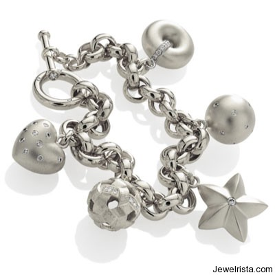 Platinum Charm Bracelet By Jewelry Designer Etienne Perret