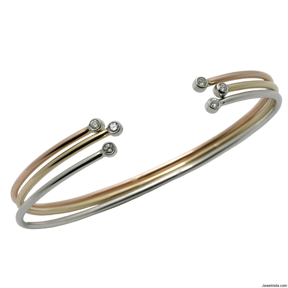 Gold and Diamond Echo Bracelet By Jewelry Designer Lana Bramlette