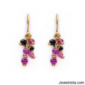 Laura Gibson 18K Gold, Ruby, Pink Tourmaline and Onyx Earrings