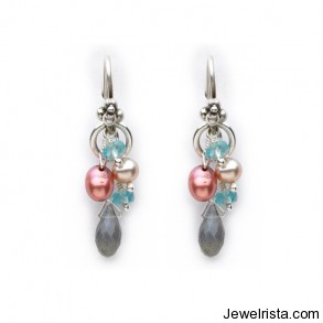 Sterling Silver, Labradorite, Fresh Water Pearl and Apatite Earrings By Jewelry Designer Laura Gibson