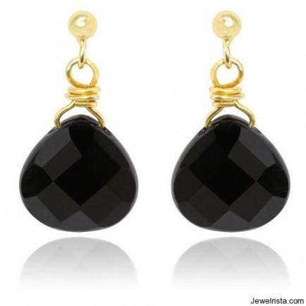 Mischa Onyx Pear Earrings