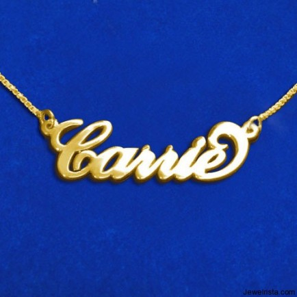 Name Necklace Gold Plated Silver Carrie