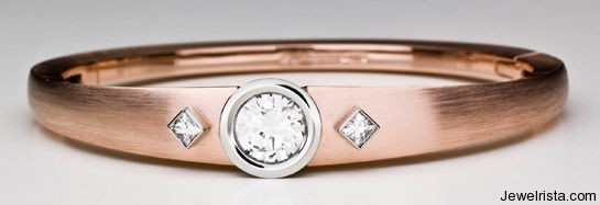 Diamond and Rose Gold Bangle By Jewelry Designer Pascal Lacroix