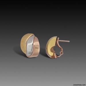 Tri Color Gold Earrings By Designer Charles Garnier