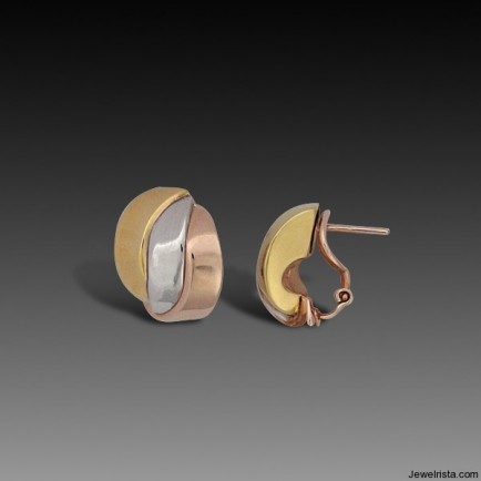 Tri Color Gold Earrings By Designer Charles Garnier