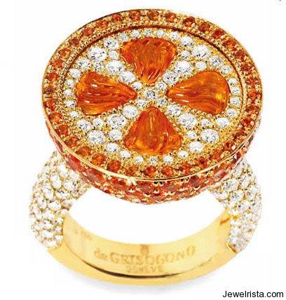 Diamond and Gemstone Ring By Jewelry Designer de Grisogono