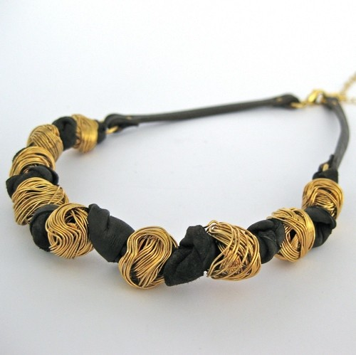 Knitted Ball Leather Necklace by Hagar Satat