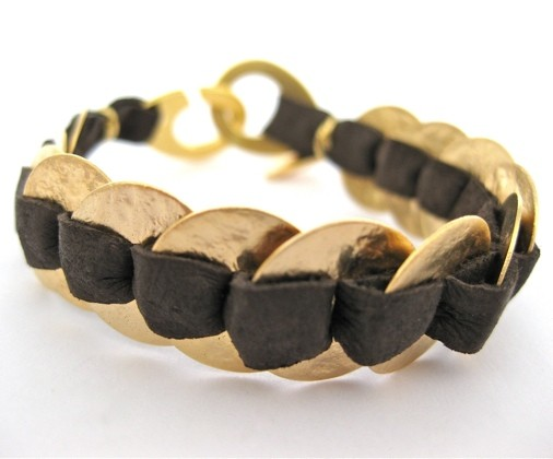 Leather and Gold Discs Bracelet by Hagar Satat