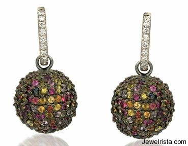 Sapphire and Diamond Ball Earrings By Jewelry Designer Rina Limor