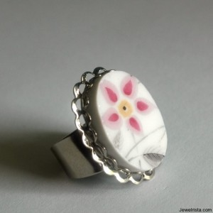 Adjustable Broken Plate Cocktail Ring - Pink and Grey Flower - Recycled China