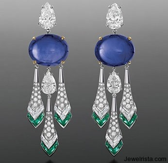 Chandelier Diamond and Sapphires Earrings By Jewelry Designer Bulgari