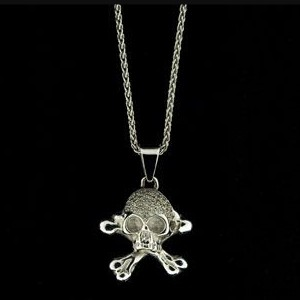 White Gold Skull and Cross Bones Chain With Pave Set Diamonds