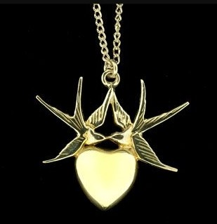 Gold Swallow and Heart Pendent