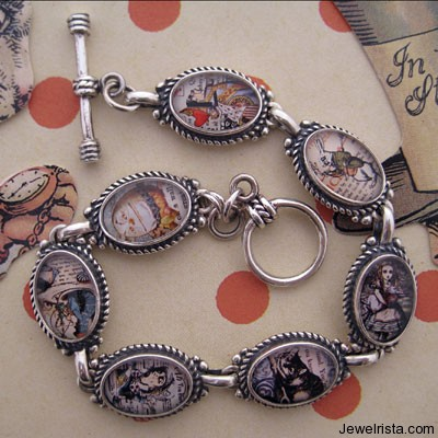 Alice in Wonderland Characters Sterling Silver Bracelet By Jewelry Designer Tiffini Elektra X (tartx)