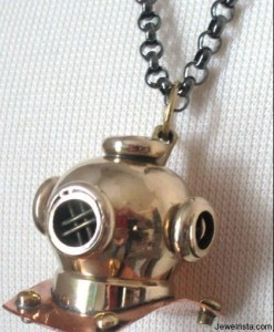Antique Brass Scuba Helmet Chain