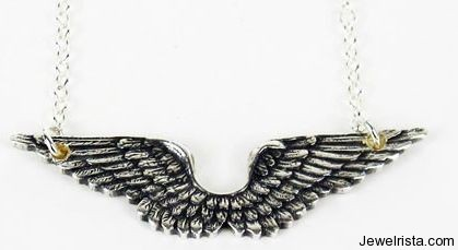 Vintage Silver Plated Wing Necklace