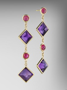 Paolo Costagli Amethyst and Ruby Florentine Chain Earrings