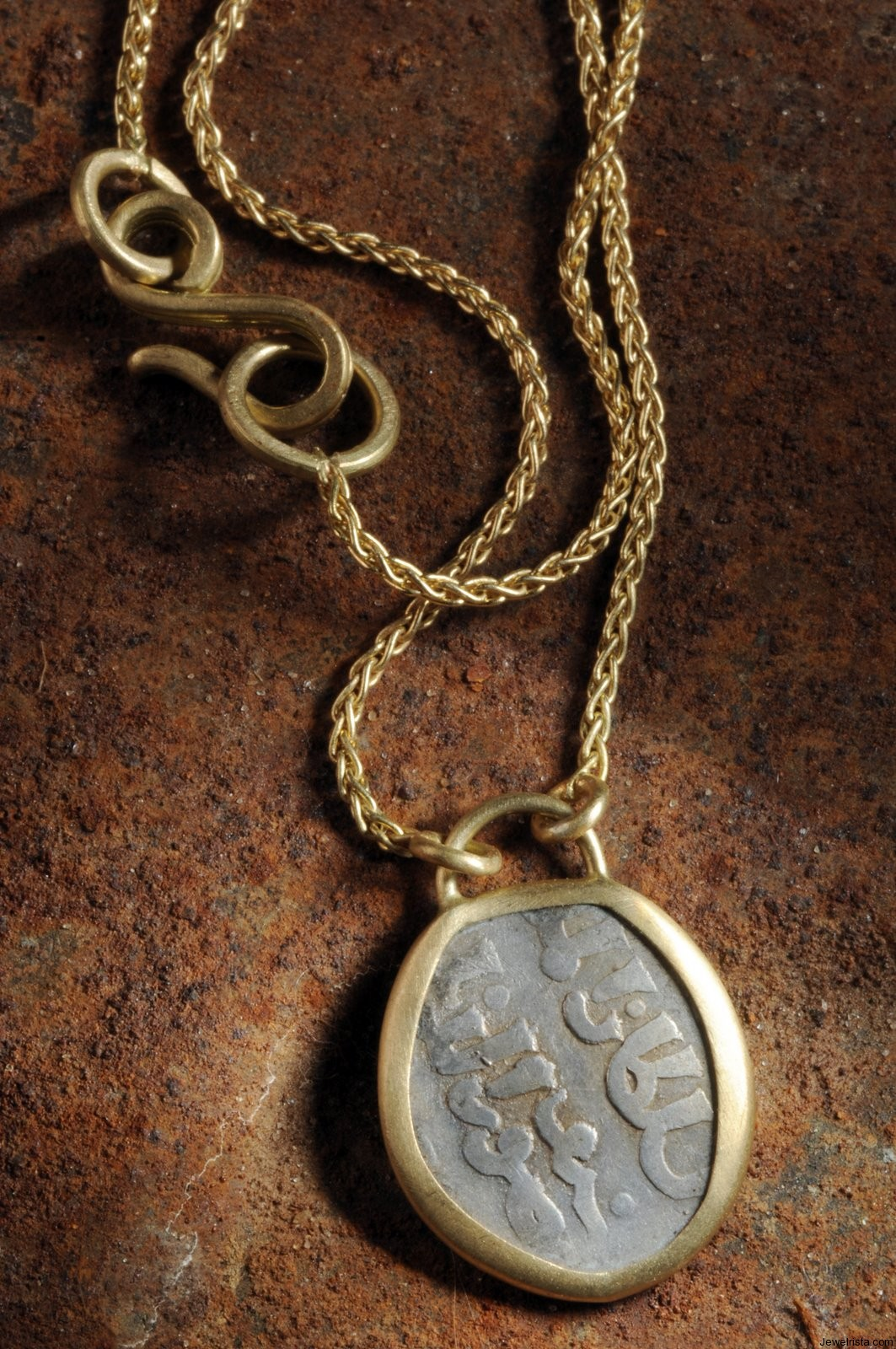 old coin necklace by agas and tamar jewelry desginers