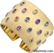 Multi-Colored Sapphire and Gold Bracelet