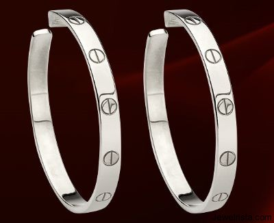 18KT White Gold Love Earrings By Jewelry Designer Cartier