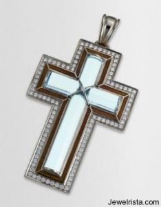 Diamond and Blue Topaz Cross Pendant
