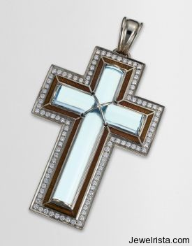 Diamond and Blue Topaz Cross Pendant