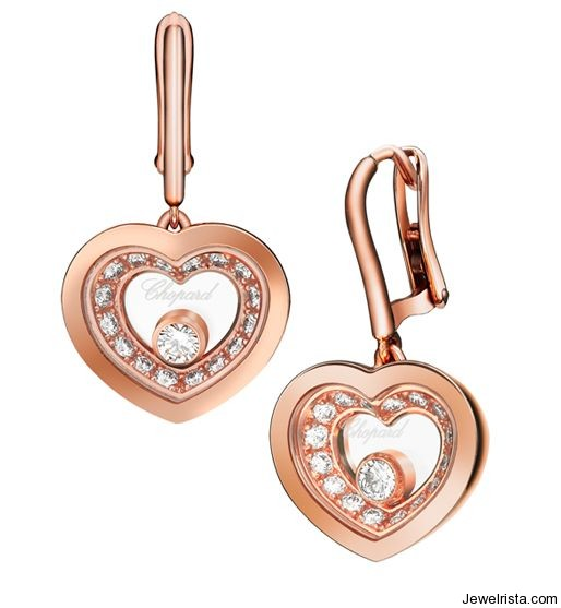 18kt Rose Gold Diamond Earrings By Jewelry Designer Chopard