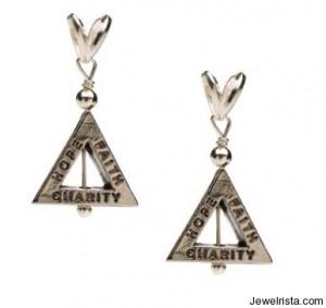 Hope, Faith, Charity Silver Earrings