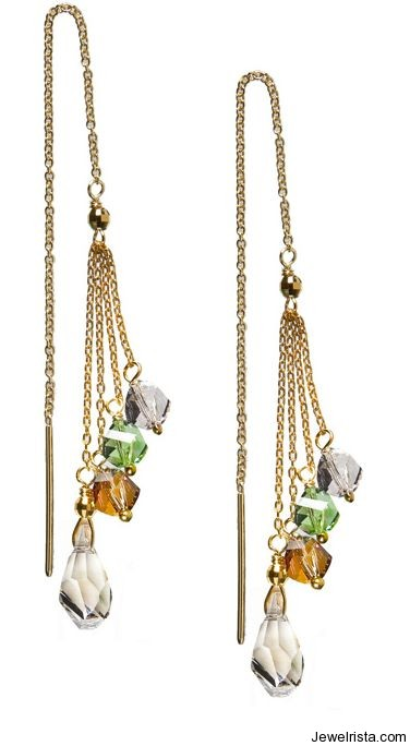 Gold Vermeil Bling String Threader Earrings By Jewelry Designer Debra Shepard