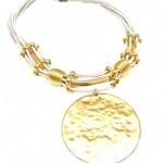 18K Gold Dipped Hammered Medallion Pendant