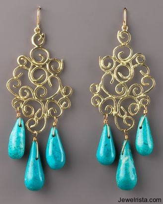 Turquoise Drop Earrings By Jewelry Designer Devon Leigh