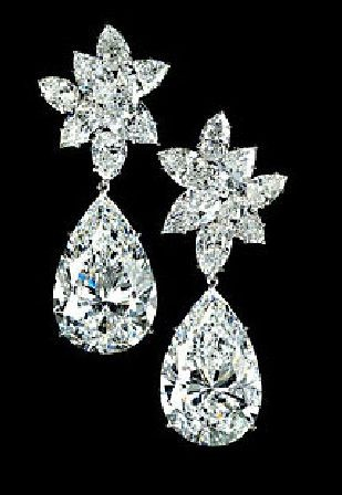 Pear Shaped Diamond Earrings By Jewelry Designer Graff Diamonds