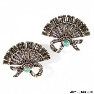 """""""Chinios Fan"""" Button Earrings"""