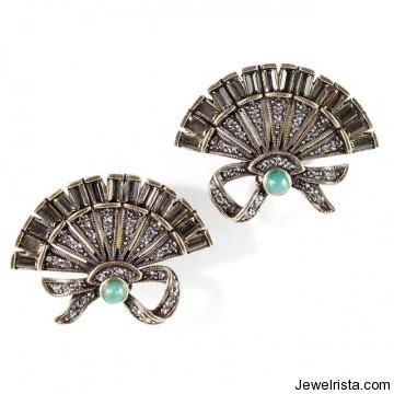 """Chinios Fan"" Button Earring By Jewelry Designer Heidi Daus"