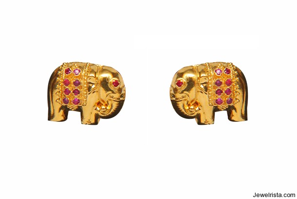 22ct Gold Elephant Earrings By Jewelry Designer Josco