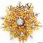 "Diamond ""Snowflake"" Brooch"