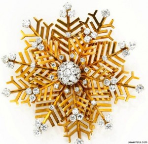 "Diamond ""Snowflake"" Brooch"