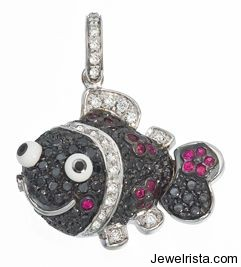 White Gold Pave Black and White Diamond Fish With Rubies