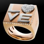 Diamond and Gold Love Ring By Grimoldi