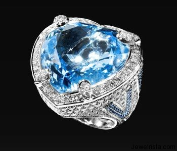 Blue Topaz and Diamond Ring by Jewelry Designer Grimoldi Milano