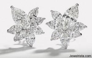 Diamond Flower Earrings by Hans D. Krieger