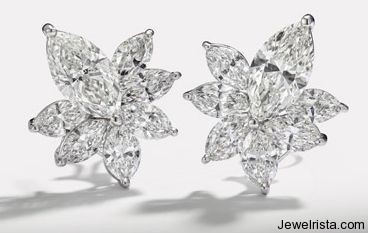 Diamond Flower Earrings by Jewelry Designer Hans D. Krieger