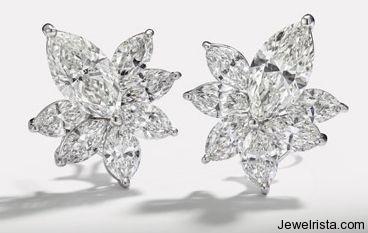 Diamond Flower Earrings by Jewelry Designer Hans D. Krieger
