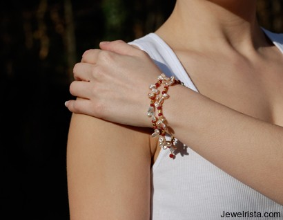 Keishi Pearl and Ruby Bracelet by Orbora