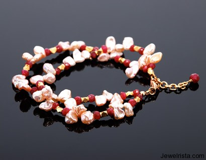 Keishi Pearl and Ruby Bracelet by Orbora Jewelry