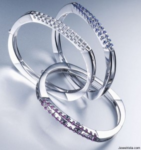 Diamond and Sapphire Bangle Bracelets by Kria