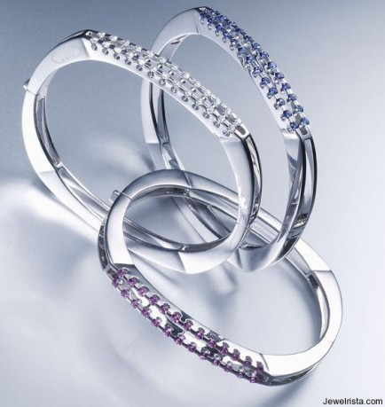 Diamond and Sapphire Bangle Bracelets by Kria